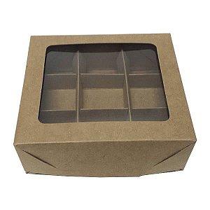 Caixa 9 Divisórias (Kraft) (12x11x4 cm) 10unid Caixa para Embalagem Docinhos