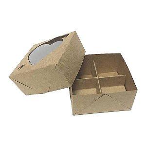 Caixa 4 Divisórias Coração Flecha (Kraft) (8x7.5x4 cm) 10unid Docinhos
