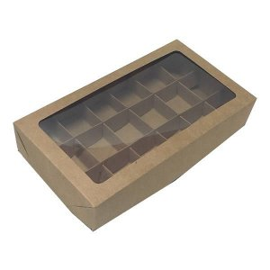 Caixa 18 Divisórias (Kraft) (22x12x4 cm) 10unid Docinhos Brigadeiros