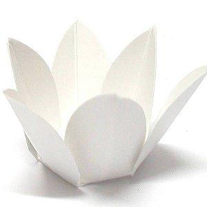 Forminha de Papel Flor Branca (2.3x2.3x3 cm) 100unid para Doces