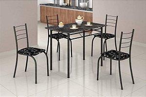 Conjunto Mesa Com 4 Cadeiras Para Cozinha Craqueada Preta - Leia a descrição abaixo com atenção!