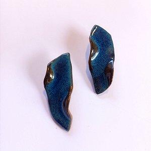 Brinco cerâmica azul