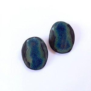 Brinco de cerâmica preta, vidrado azul