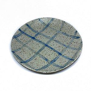 Prato de Sobremesa xadrez azul e branco