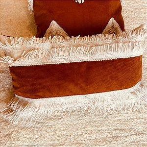 Almofada baguete terracota franja