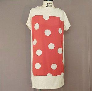 Vestido Camisetão coral com bola off white