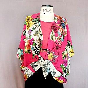 Kimono floral rosê