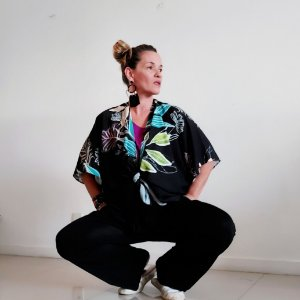 Kimono folhagem marinho