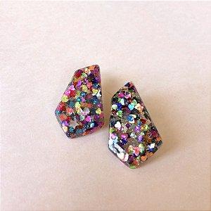 Brinco Forma Glitter Colorido
