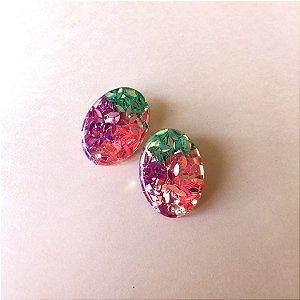 Brinco Oval Glitter Fluor