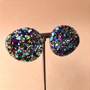 Brinco Botão Glitter Color Azul