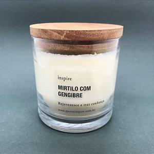 Vela perfumada de Mirtilo com Gengibre com tampa de madeira