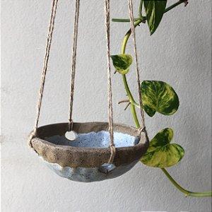 Vaso suspenso cerâmica azul