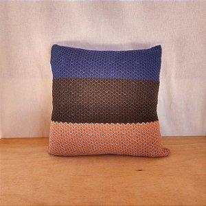 Capa de almofada em tricô | azul+verde+cobre (40x40cm)