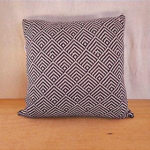 Capa de almofada em tricô | preto e bege (40x40cm)