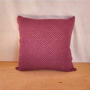 Capa de almofada em tricô |uva+rosa claro (40x40cm)