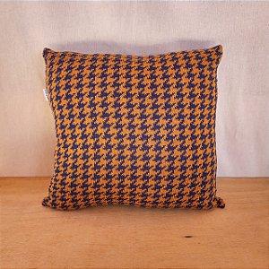 Capa de almofada em tricô |mostarda+azul (40x40cm)