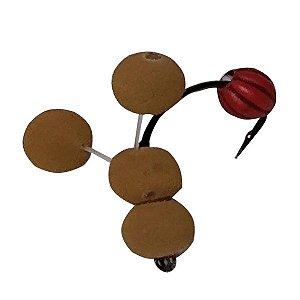 Anteninha Para tamba Marrom com Miçanga Vermelha