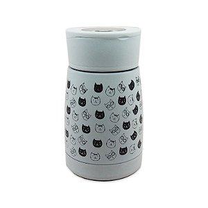 Garrafa Térmica Inox Gatinho Branco 180ml