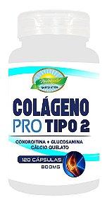 Colágeno Pro Tipo2 - (Condroitina + Glucosamina + Cálcio Quelato) - 100 Cápsulas 800mg.