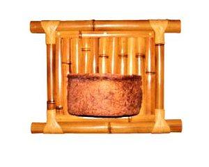 Vaso Artesanal de Parede - Bambu e Fibra de Coco - 30 x 25cm
