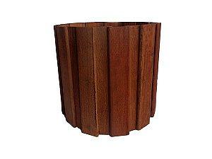 Cachepô de Madeira Envelhecida Redondo - 25 x 23 cm