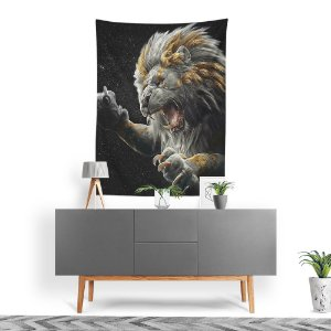Stompy Tecido Decorativo Tactel Angry Lion