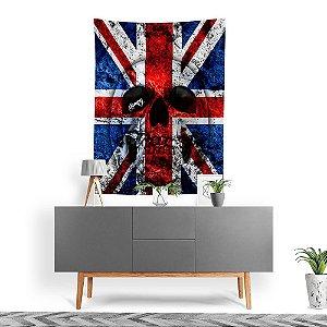 Stompy Tecido Decorativo Tactel UK Flag Skull