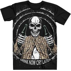 Stompy Camiseta Caveira Tattoo Drink Now Tatuagem