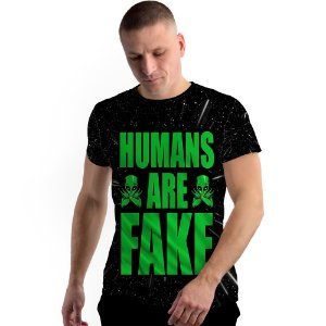 Stompy Camiseta Full Print Humans Are Fake