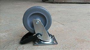 Rodízio Industrial com freio - 10cm de altura para 35kg