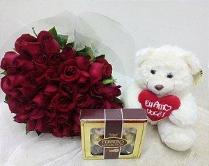 Kit buquê 50 rosas ,ferrero colection mais ursinho