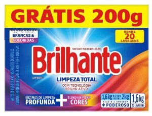 Lava Roupas Sanitizante em Pó Brilhante Limpeza Total 1,6Kg - Caixa - Sabão em Pó Brilhante