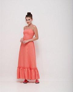 Vestido Decote Costas Trabalhado em Linho