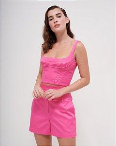 Cropped corseletado em Sarja