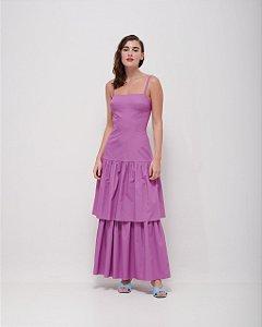 Vestido Saia em Camadas em Tricoline Premium