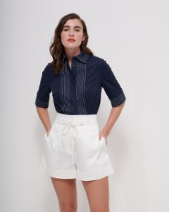 Camisa Pesponto Linear em Tricoline Premium