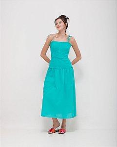 Vestido com mini pregas acabamento em ponto ajour em Voil