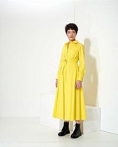 Vestido Chemise em Tricoline com Cinto Duplo