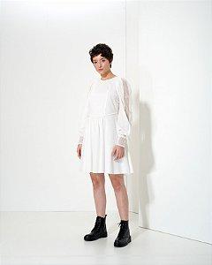 Vestido Mini em Voil com Renda