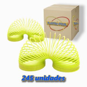 Caixa de Mola Maluca Grande Amarelo Neon c/ 245 Unidades