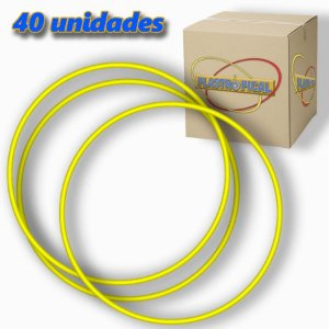 Caixa de Bambolê Infantil Plastico Reforçado Amarelo 50cm C/ 40 Unidades
