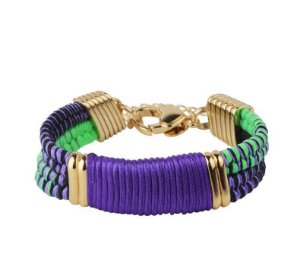 Bracelete Diana, seda azul navy e lima
