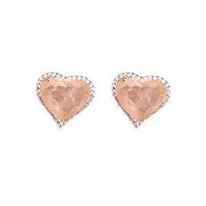 Brinco coração morganita carvejado