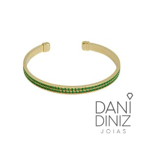 Bracelete cravejado zircônias verde