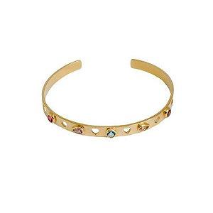Bracelete corações vazados e cristais coloridos