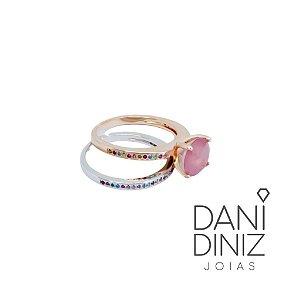Aliança dupla pedra quartzo rosa fusion dois banhos