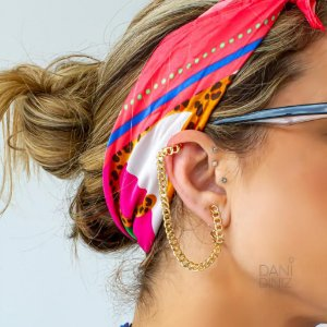Brinco ear bling piercing corrente