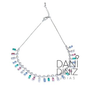 Colar cristais candy colors
