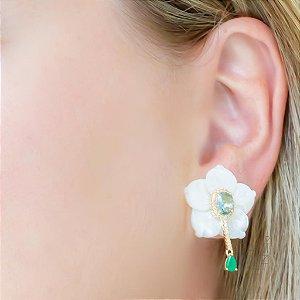 Brinco flor madrepérola cristal verde água desmontável